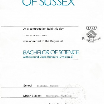 University of Sussex BSc Degree in Experimental Psychology