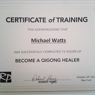 Certificate for 72hrs Qigong training with the renowned Master Robert Peng at the Omega Institute in Rhinebeck, New York, USA